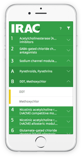 IRAC Mode of Action Classification app on an iPhone 8